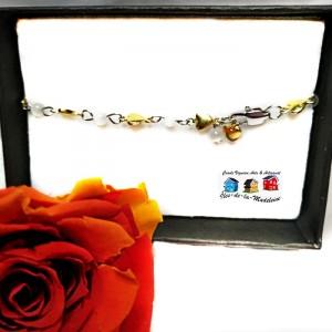 Bracelet Cœurs et  billes de verre.