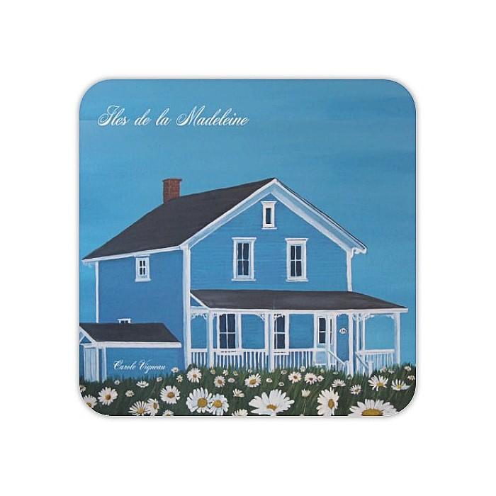 Photo, peinture de l'artiste Carole Vigneau, maison typique des Iles-de-la-Madeleine..